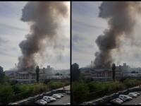 Incendiu puternic la fabrica de sticlă din sectorul 3 al Capitalei. VIDEO