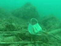 Măști și mănuși de plastic aruncate pe străzi și în mare. Imagini din adâncuri