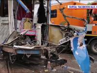 Tramvai lovit violent de un TIR care a trecut pe roșu, în Iași. VIDEO