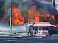 Un incendiu puternic a distrus un magazin de mobila din Galati