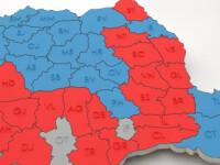 REZULTATE FINALE, ALEGERI PREZIDENTIALE 2014. BEC: Iohannis: 54,50 %, Ponta 45,49%. Noua HARTA a Romaniei in doua culori