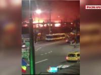 Sapte vagoane de tren au ars in gara din Cluj. Martorii spun ca incendiul ar fi pornit de la oamenii strazii