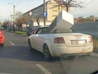 Frigider transportat cu mașina decapotabilă pe străzile din Timișoara. FOTO