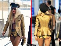 Lady GaGa, cu sanii cam lasati si golasa in aeroport