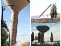 Doua turnuri inalte de zeci de metri, detonate controlat la Alba Iulia. Cantitatea de dinamita folosita