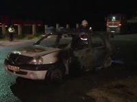 O maşină de poliţie, parcată lângă sediul instituţiei dintr-o comună din Bistriţa Năsăud, a luat foc