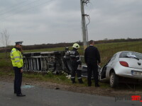 Accident grav în Satu Mare, după ciocnirea dintre o autoutilitară și un autoturism: 2 răniți. VIDEO