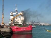 Alertă în Portul Constanța. Singura navă de salvare, cuprinsă de flăcări