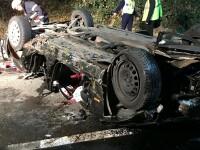 Accident groaznic în Arad. O mașină cu 4 tineri s-a prăbușit de pe un pod, iar 2 au murit