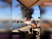 Explozie și incendiu pe o barcă de agrement din Portul Tomis. Pompierii au intervenit