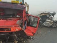 Accident cu 5 victime în Brăila, din cauza ceții. Printre răniți s-ar afla 3 pompieri