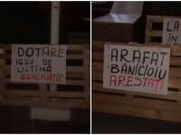 Protest cu paleţi la ISU Bucureşti. Mesaj dur la adresa lui Arafat proiectat pe o clădire