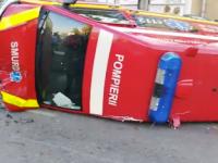 O ambulanţă SMURD aflată în misiune s-a răsturnat pe o stradă din Piteşti
