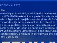 Mesaj de urgență în București, în sistemul Ro-Alert, pentru restricțiile cauzate de pandemie