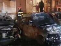Incendiu violent într-un cartier din Galați. Au ars cinci autoturisme