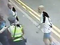 VIDEO. Momentul in care un politist este lovit cu piciorul in fata.