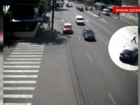 CAMERA DE SUPRAVEGHERE. Un barbat din Braila a scapat cu viata, dupa ce a fost lovit in plin de o masina, in centrul orasului