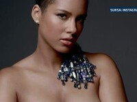 Cantareata Alicia Keys, gravida in luna a sasea, a postat o fotografie in care apare nud, cu semnul pacii desenat pe pantec