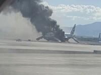 Imaginile cu pagubele devastatoare ale avionului British Airways, care a luat foc inainte de decolare. Motorul ar fi explodat
