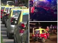 Protest al taximetristilor din Bistrita, dupa ce colega lor a fost ucisa de un sofer beat, care furase mireasa