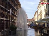 Fantana arteziana in toata regula, in centrul Timisoarei, dupa ce un hidrant a cedat, iar apa a tasnit la 10 metri inaltime