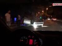 O mașină de poliție s-a răsturnat după un accident în Timișoara