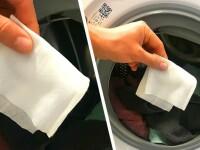 Pune un șervețel umed în mașina de spălat, lângă haine, și vei avea o surpriză uriașă