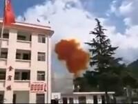 O rachetă a explodat în apropierea unei școli din China. Imagini teribile de la fața locului