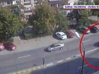 Un impact violent între două mașini, surprins de camerele de supraveghere în Oradea
