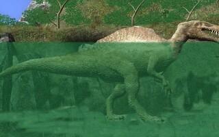 dinozaur in lac