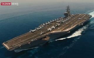 port-avion american filmat de o drona iraniana