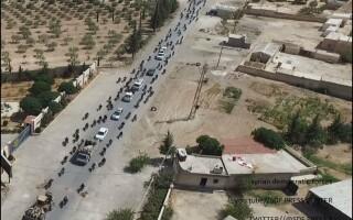 coloana ISIS fugind din Manbij folosind scuturi umane