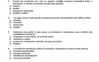 Subiecte BAC la Sociologie