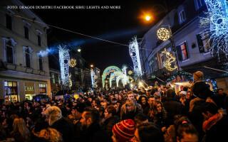 spectacol de lumini in Sibiu