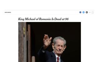 New York Times, Regele Mihai deces