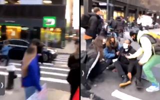 Momentul în care o mașină lovește mai multe persoane la New York