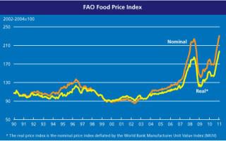 graficul indicelui preturilor alimentelor