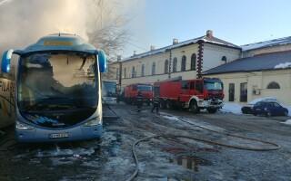 Un autocar a luat foc în Autogara Filaret. nu sunt persoane rănite