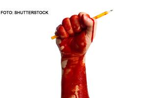 mana insangerata cu un creion, libertatea presei