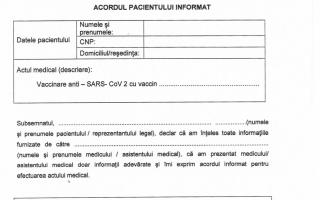 Formular de exprimare a acordului pacientului informat