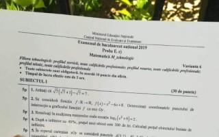 Subiecte MATEMATICĂ BAC 2019