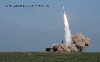 launch of a missile from an Iskander M tactical missile system at Kapustin Yar during a military exercise by the Russian Armed Forces