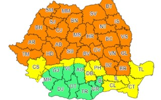 Cod portocaliu de furtuni în 25 de județe