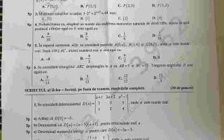 subiecte matematica cls XI