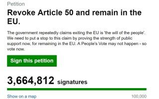 Petiție pentru oprirea Brexit-ului