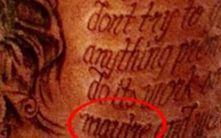 tatuaj, Kevin Durant, text scris gresit