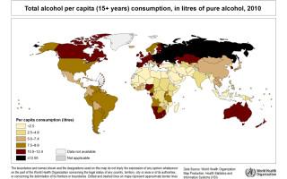 consum global de alcool pe cap de locuitor