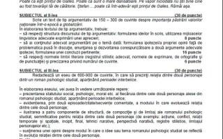 BACALAUREAT 2014, subiecte la proba scrisa de limba romana- profilul UMAN