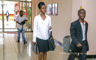 Diane Shima Rwigara arrives to hold a press conference in Kigali on May 3,2017