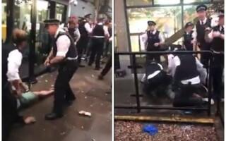 Român pus la pământ și încătușat de polițiștii britanici, la secția de vot din Londra. VIDEO
